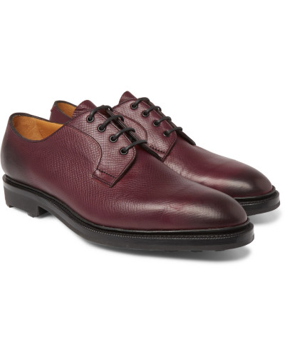Caudale Textured-leather Derby Shoes - Burgundy