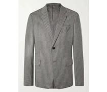 Herringbone Stretch-Wool Flannel Suit Jacket