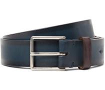 3cm Blue Burnished-leather Belt