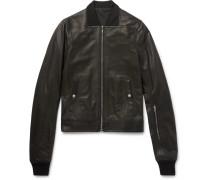 Stone-washed Leather Bomber Jacket