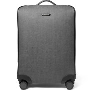 Leather-trimmed Herringbone Coated-canvas Suitcase