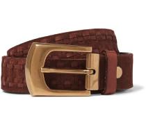 4cm Brown Leather-trimmed Suede Belt