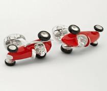 Enamelled Silver Racing Car Cufflinks