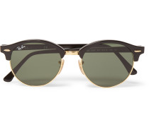Clubmaster Round-frame Acetate And Gold-tone Sunglasses