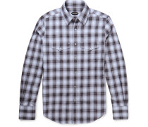 Slim-fit Western-style Checked Cotton Shirt