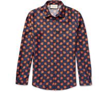 Slim-fit Floral-print Silk-twill Shirt