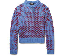 Two-tone Birdseye Wool-blend Sweater
