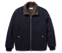 Shearling-lined Cashmere Bomber Jacket