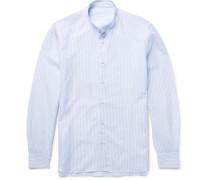Slim-fit Grandad-collar Striped Slub Cotton And Linen-blend Shirt