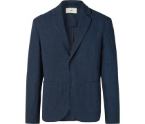 Navy Unstructured Linen and Cotton-Blend Blazer