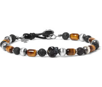 Sterling Silver, Tiger's Eye And Onyx Bracelet
