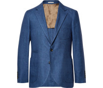 Blue Slim-fit Linen Blazer