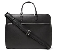 Soft Avietta Pilotina Pebble-grain Leather Briefcase