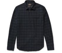 Black Watch Checked Cotton-flannel Half-zip Shirt