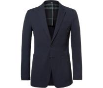 Blue Stretch-cotton Seersucker Blazer