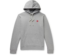 Ian Logo-Appliquéd Mélange Fleece-Back Cotton-Jersey Hoodie