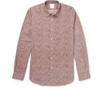 Slim-fit Lip-print Cotton Shirt