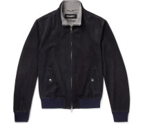 Cashmere-lined Suede Bomber Jacket