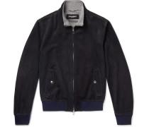 Cashmere-lined Suede Bomber Jacket