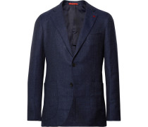 Storm-blue Slim-fit Wool, Silk And Linen-blend Hopsack Blazer