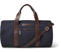 Leather-trimmed Shell Duffle Bag