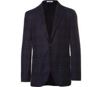 Blue Checked Virgin Wool-blend Blazer