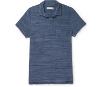 Slim-fit Open-collar Mélange Cotton-terry Polo Shirt
