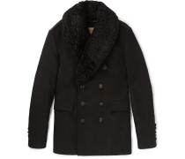 London Shearling-trimmed Moleskin Peacoat
