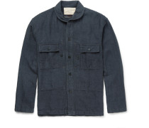 Slim-fit Penny-collar Linen And Cotton-blend Overshirt