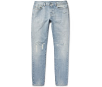 Skinny-fit 16cm Distressed Washed-denim Jeans