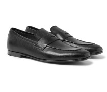 Textured-Leather Penny Loafers