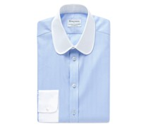 + Turnbull & Asser Slim-Fit Penny-Collar Striped Herringbone Cotton Shirt
