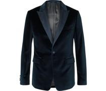 Slim-Fit Satin-Trimmed Cotton-Velvet Tuxedo Jacket