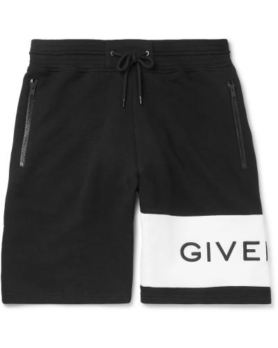 Logo-embroidered Loopback Cotton-jersey Drawstring Shorts - Black