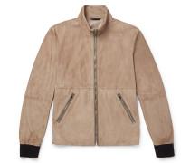 Slim-fit Leather-trimmed Suede Blouson Jacket