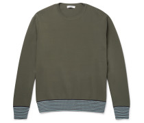 Stripe-trimmed Stretch-knit Sweatshirt