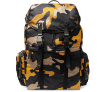 Leather-trimmed Camouflage Shell Backpack