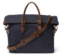 Remix Leather-trimmed Canvas Briefcase