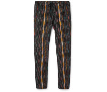 Tapered Striped Cotton And Silk-blend Trousers