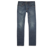 Slim-fit Washed Selvedge Denim Jeans