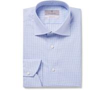 Light-blue Slim-fit Cutaway-collar Checked Cotton Shirt