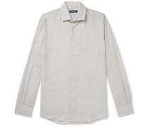 Cutaway Collar TENCEL and Linen-Blend Shirt