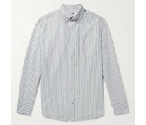 Levon Button-Down Collar Striped Cotton Oxford Shirt