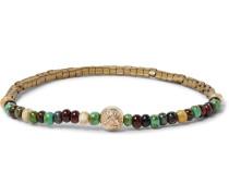 Glass, Gold And Hematite Bead Bracelet