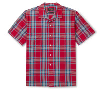 Camp-Collar Checked Cotton Shirt