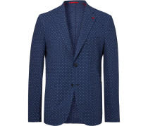 Navy Slim-fit Polka-dot Cotton-seersucker Blazer