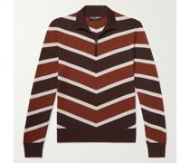 Slim-Fit Striped Cashmere and Silk-Blend Jacquard Half-Zip Sweater