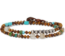 Tiger's Eye, Turquoise, Rutilated Quartz And Sterling Silver Wrap Bracelet