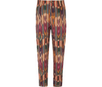 Tapered Pleated Printed Linen Trousers