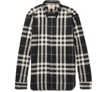 Slim-fit Checked Cotton And Cashmere-blend Shirt